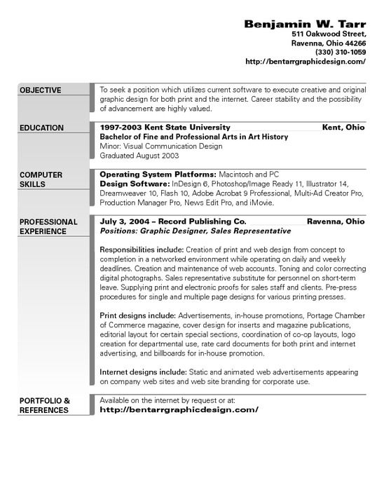 resume objective examples for graphic designer