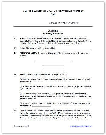 Free LLC operating agreement, available as a Word doc or PDF DIY - business operating agreement