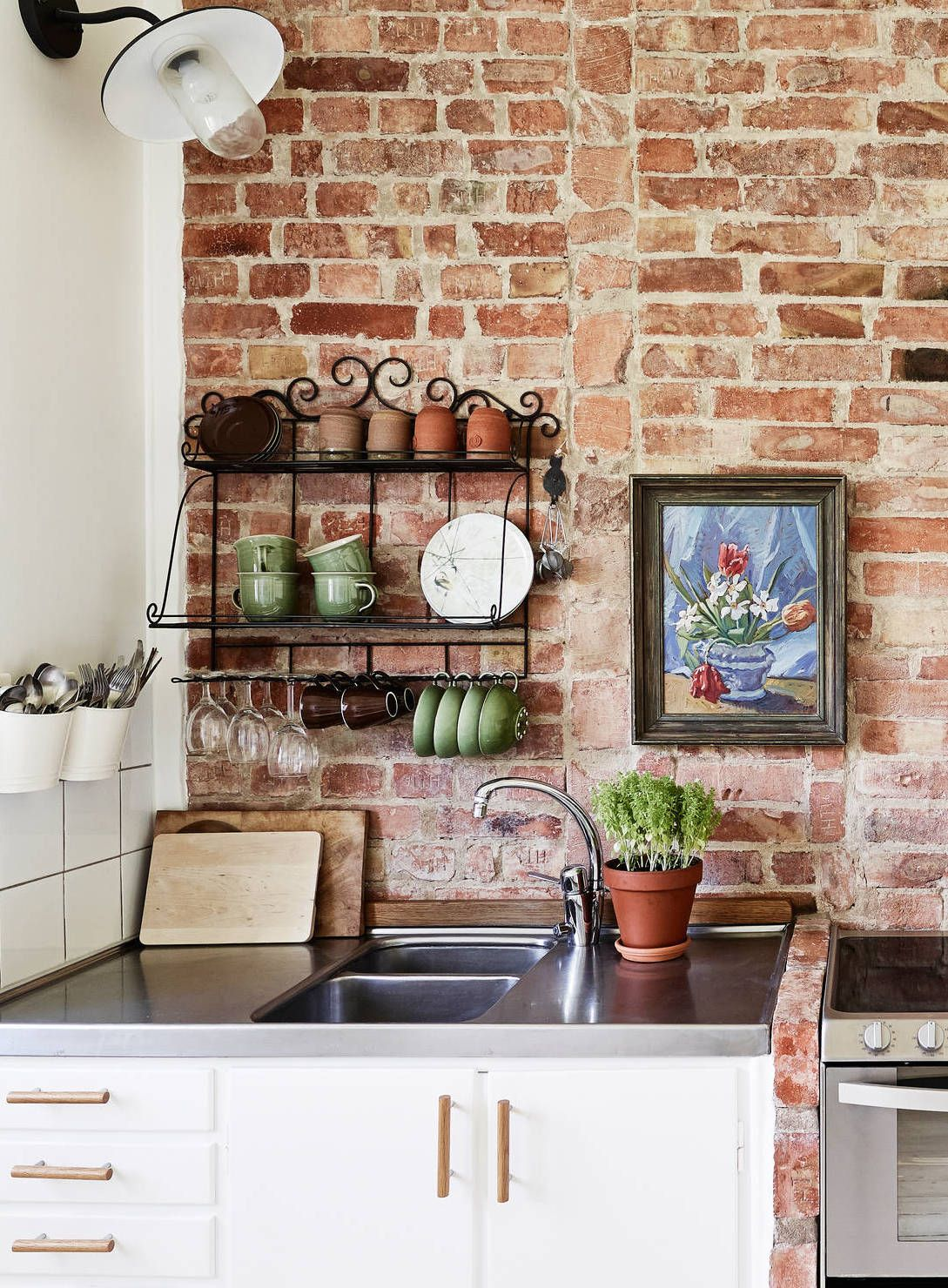 Wall Kitchen Brick Wall Kitchen Via Cocolapinedesign Kitchen