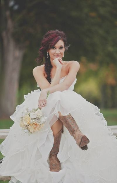 wedding gowns with cowboy boots | Wedding dress with ...