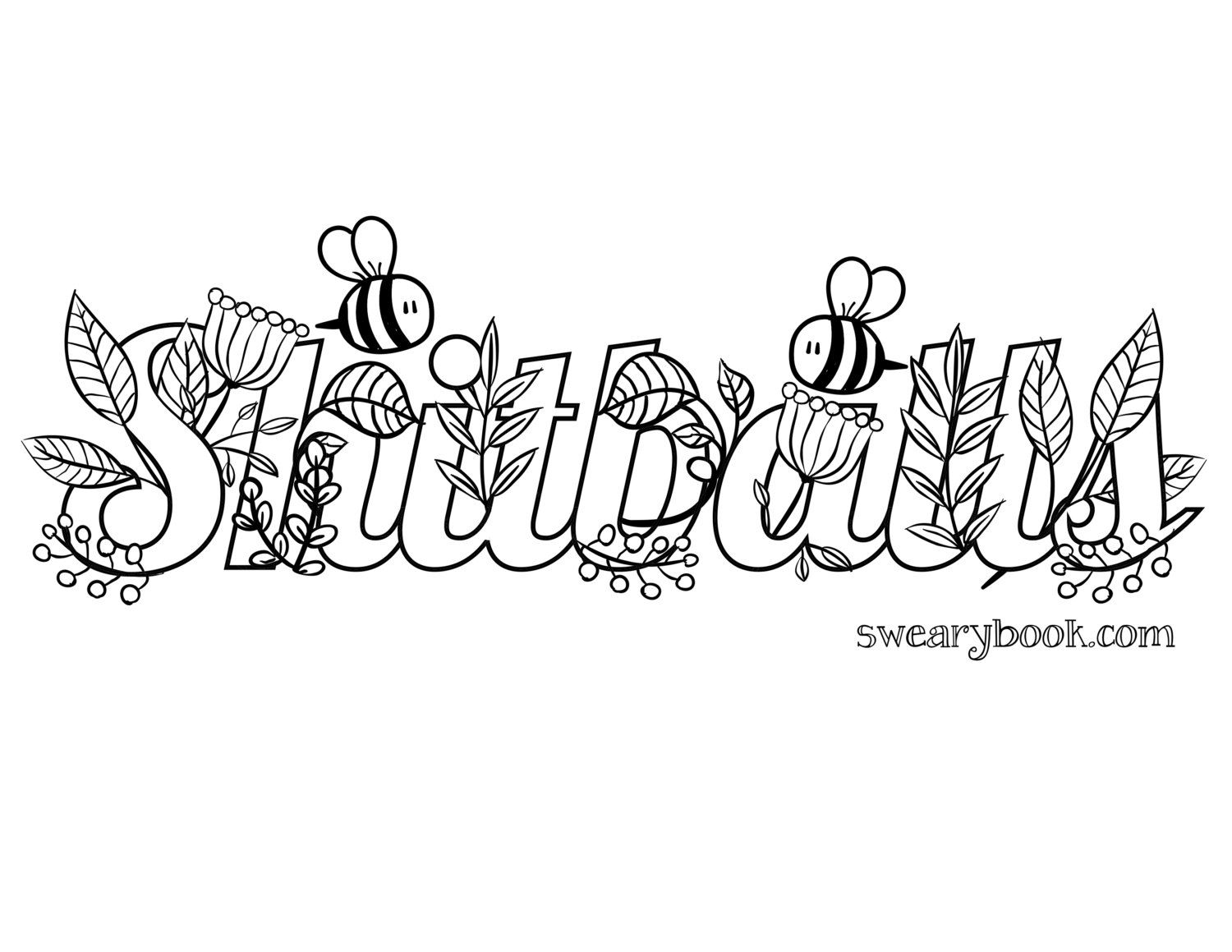 Shitballs swear words coloring page from the sweary coloring book swearing colouring pages for