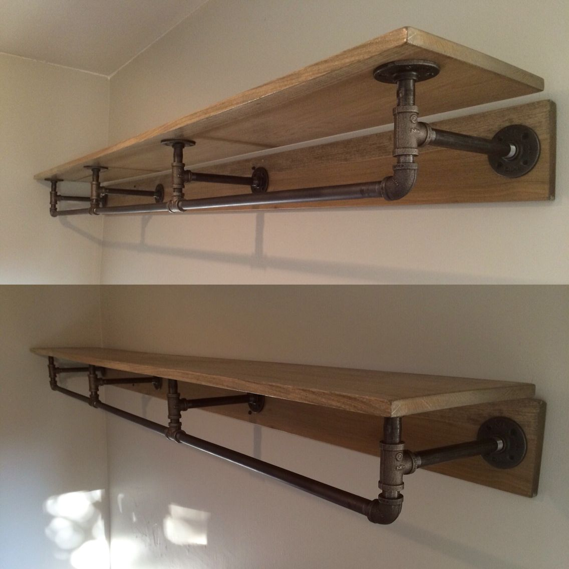 Decorative Industrial Shelving Pipe Shelving Made From Metal Piping And Stained Wood