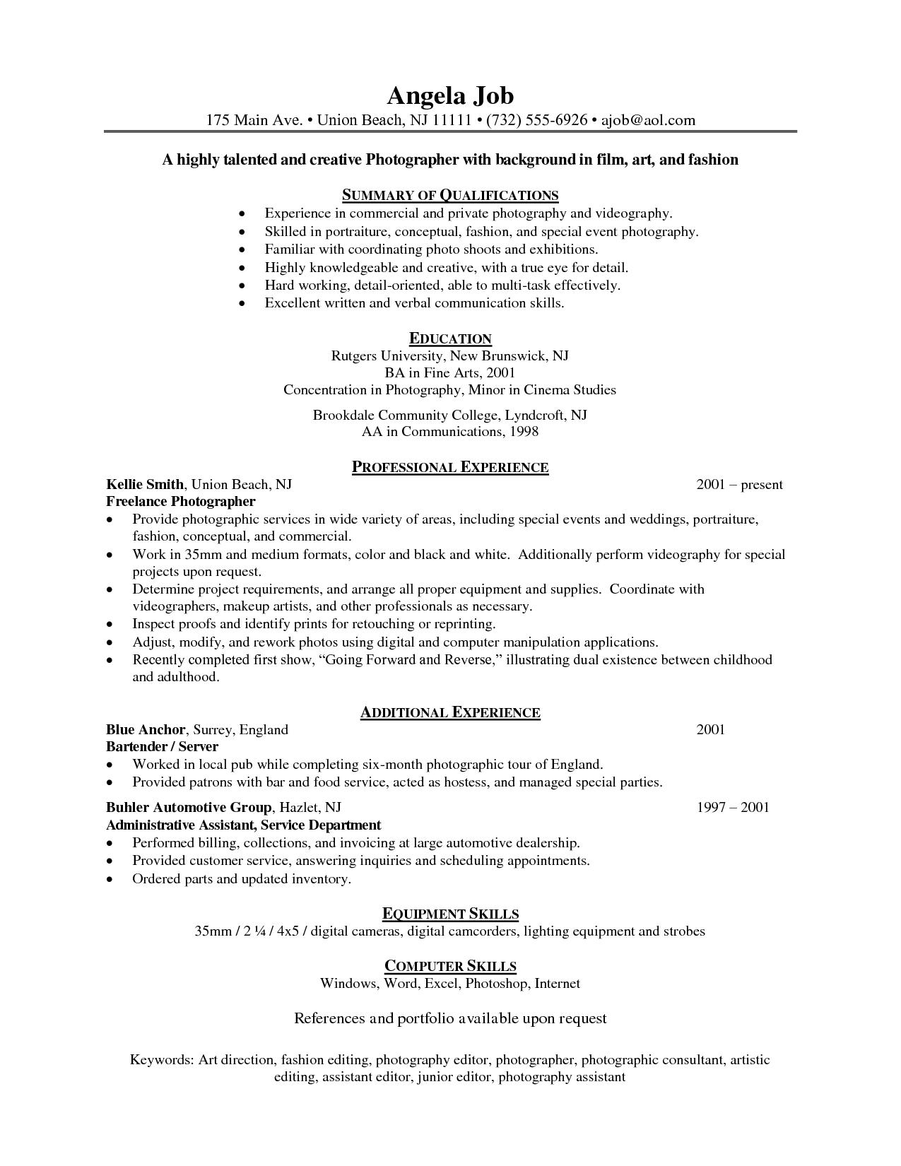 sample resume objectives for photographer