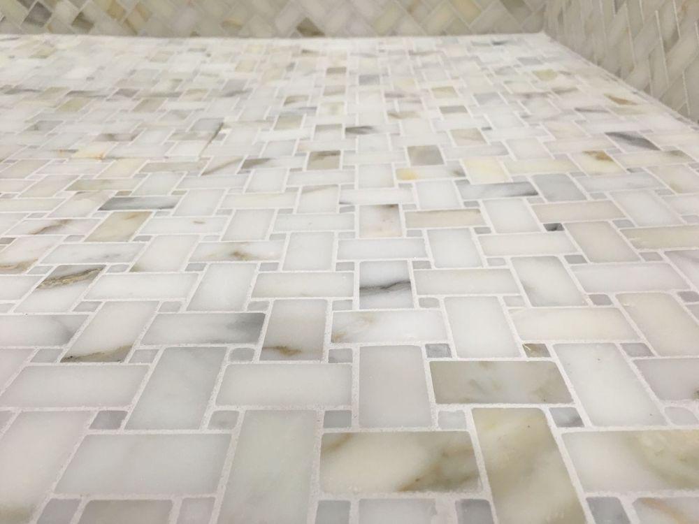 Calacutta Gold Marble Basketweave Mosaic Tile Kitchen
