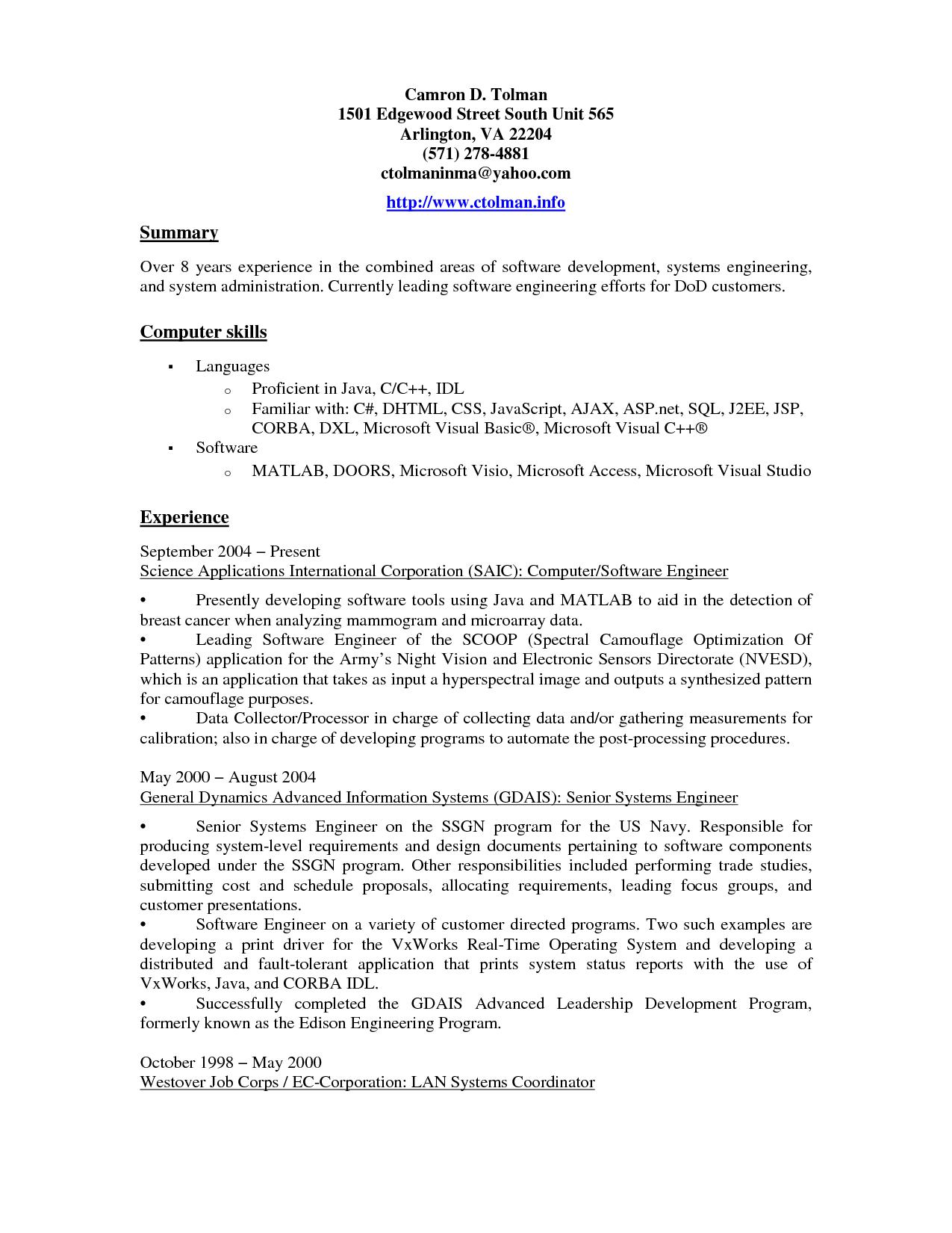 resume format language skills