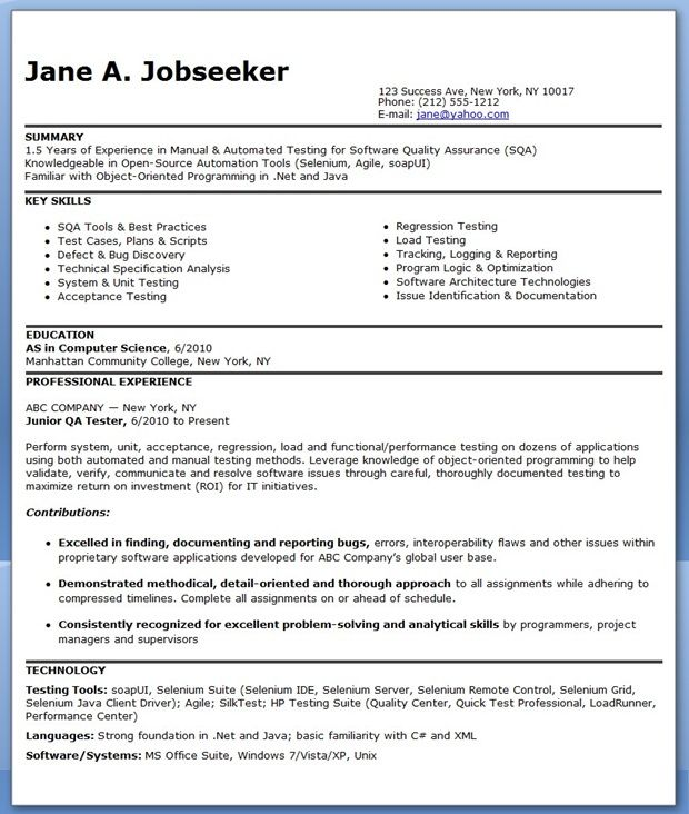 ... QA Software Tester Resume Sample (Entry Level) Creative Resume    Automation Tester Cover Letter