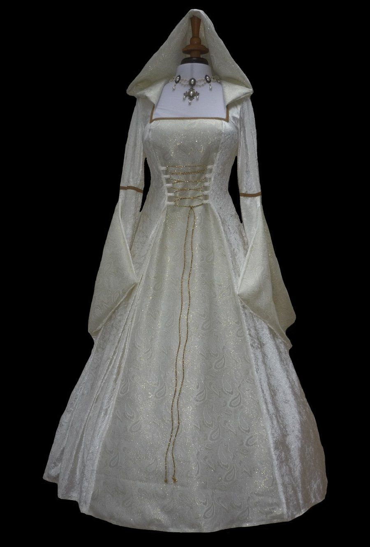 pagan wedding dresses Cream Medieval Renaissance Hooded Wedding Dress Pagan Dawns Medieval Dresses
