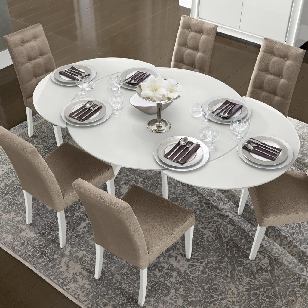 white kitchen tables Bianca White High Gloss Glass Round Extending Dining Table 1 2 1 9m CAM DAMA ROUND