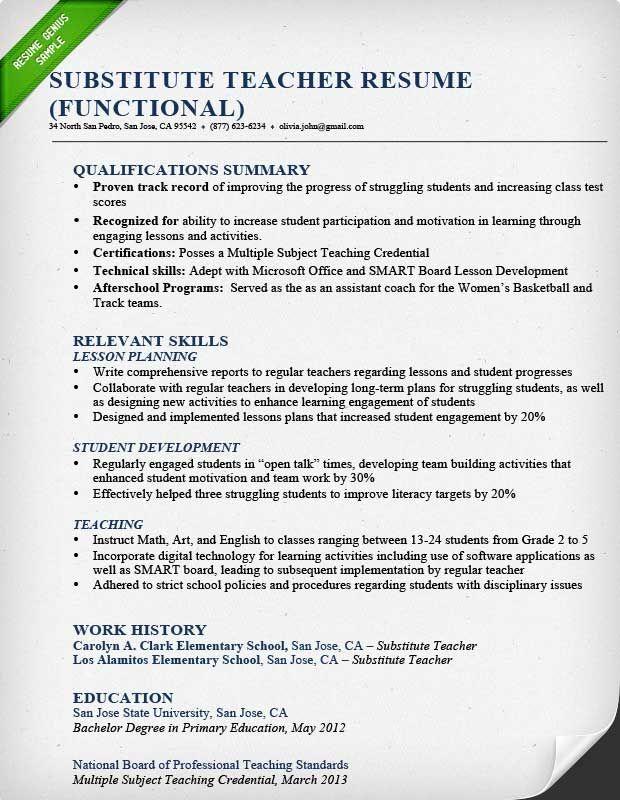 teacher resume samples amp writing guide genius professional - teaching resume skills
