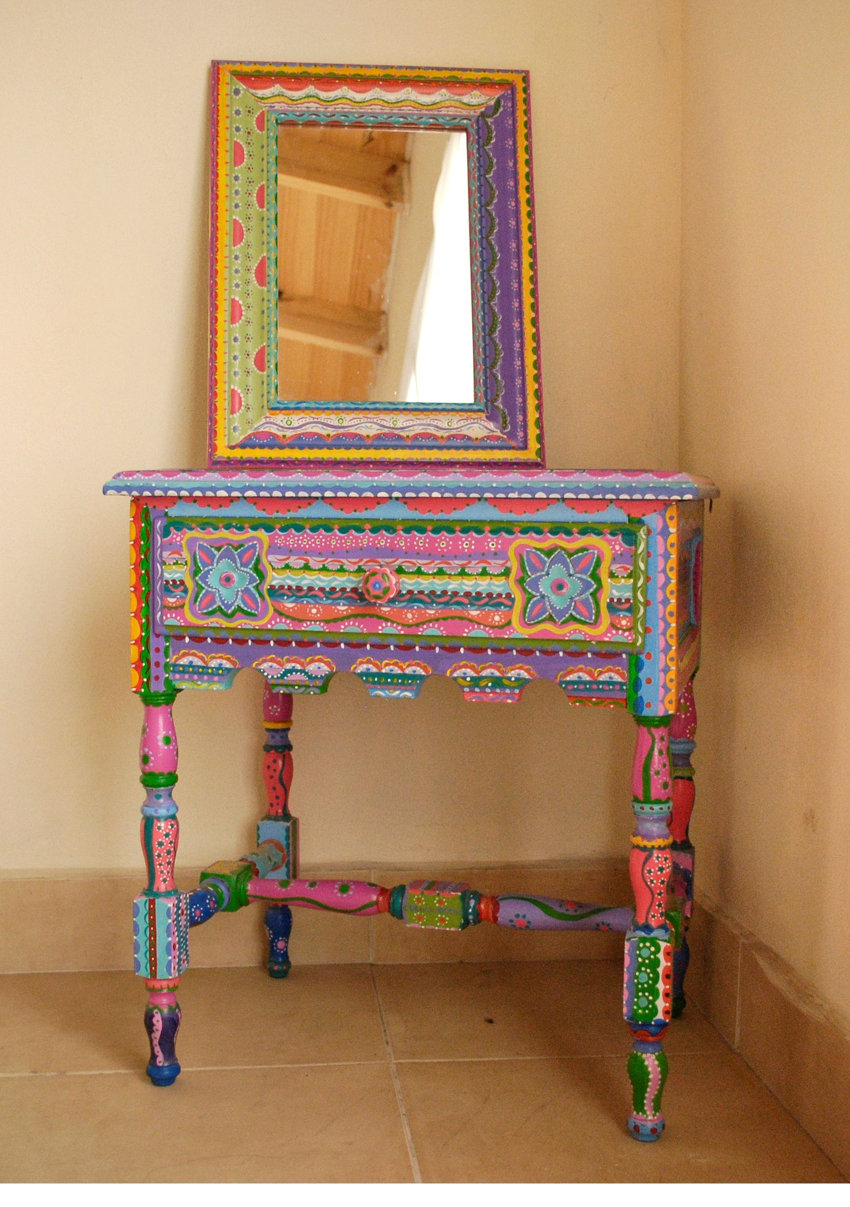 Mueble Mexicano Antique Table Intervened By Artist Mesa Mexican Style Tables