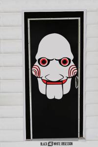 Movie Themed Halloween Door Decorations: Saw/Jigsaw