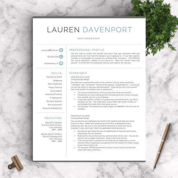 Modern Resume Template for Mac \ PC Creative Resume Resume - contemporary resume templates free