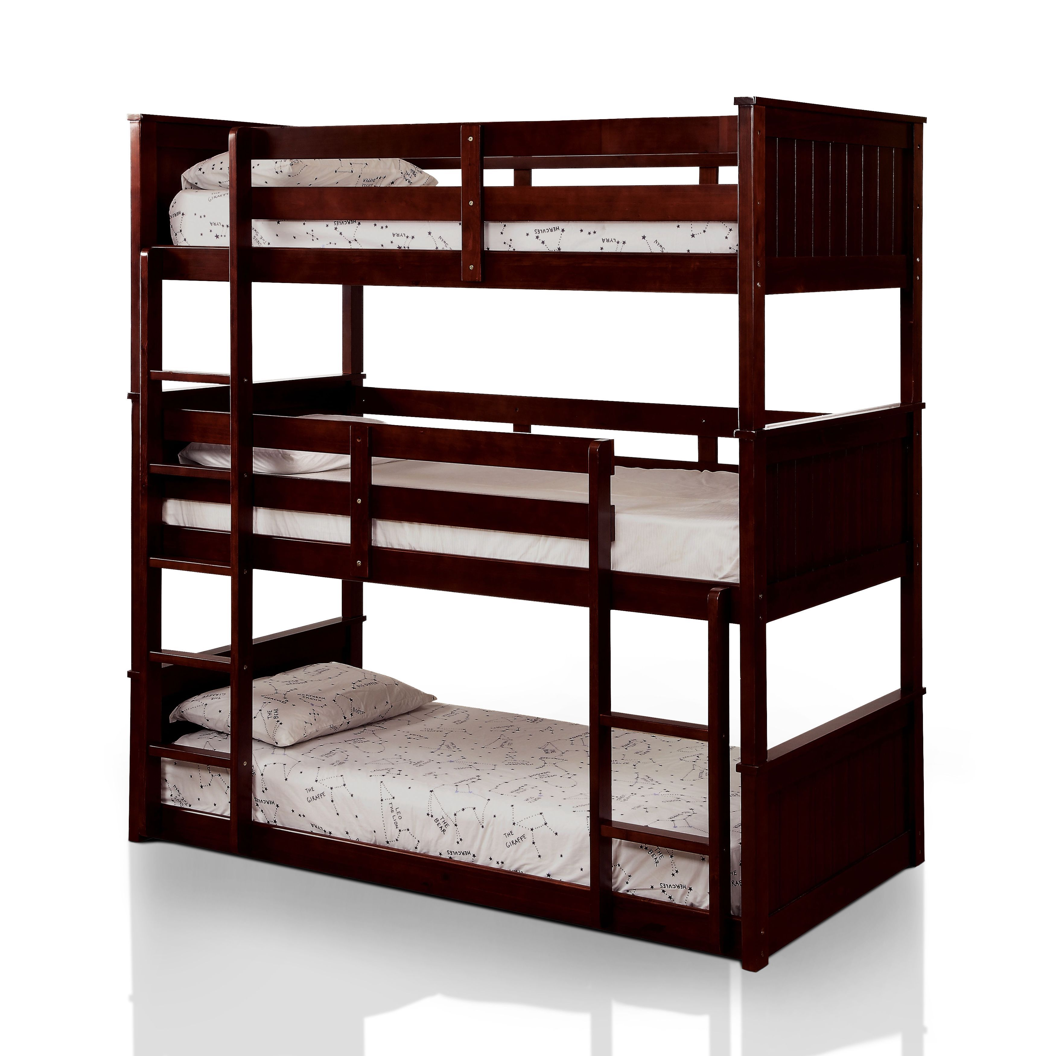 3 Twin Beds In The Space Of 1 Furniture Of America Rigson Plank Style Space Saving