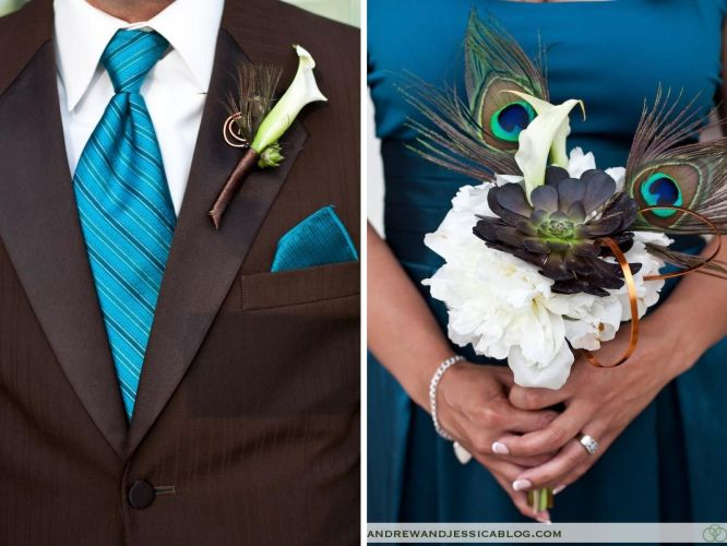 teal dresses for wedding Found my Wedding colors For when that day comes That brown suit Teal Bridesmaid Dresses Suit Combo Peacock Bouquet