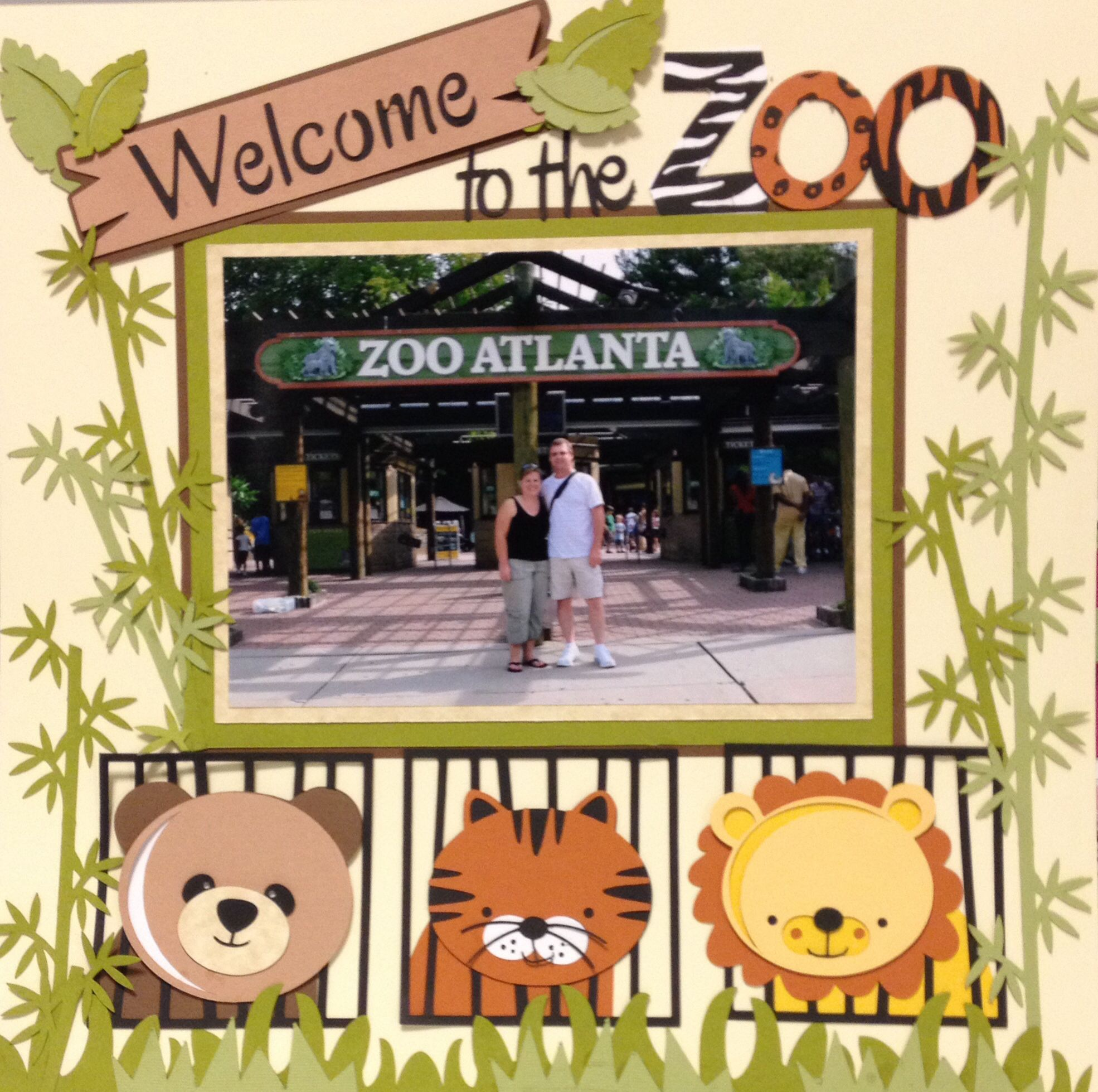 A day at the zoo zoo scrapbook layout animals