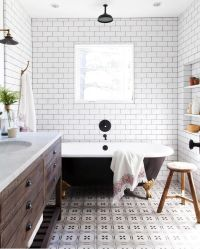 This is -rustic modern farmhouse bathroom with white ...
