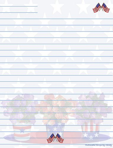 Printable Patriotic Stationary with Lines Lined Stationary - free printable lined stationary