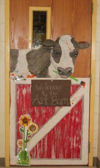 Farm themed classroom door: Art room door with a splatter ...