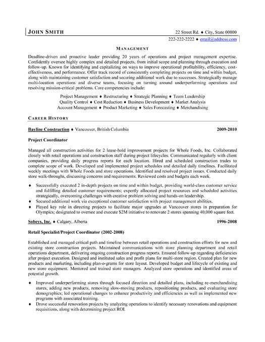 Click Here to Download this Project Coordinator Resume Template - construction project manager resume sample