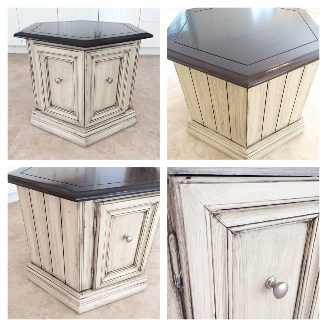 Painting Side Table Ideas Octagon End Table Refinished In Rethunk Junk Paint French