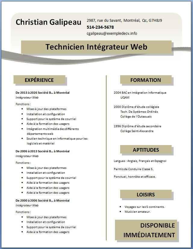 exemple de cv a telecharger gratuitement