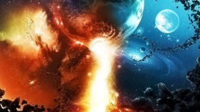 Galaxies Colide Abstract Cg Cool Destruction Digital Art Fire Flames Planets Sci Fi Space ...