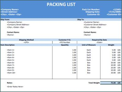 Sample Excel Packing List Office Templates Pinterest Packing - product list samples