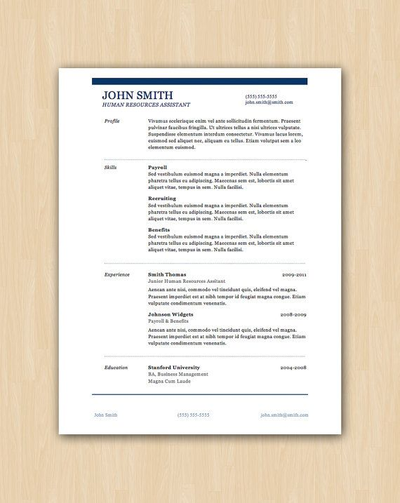 The Smith Design - Professional Resume Template - Instant Download - professional document templates