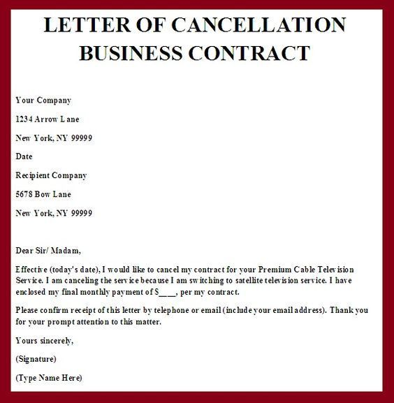 Printable Sample Contract Termination Letter Form Sumaira   Notice Form  Example