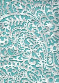 WALLPAPER - PAISLEY - Plays-Ley Teal and Metallic Silver ...