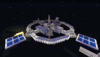 Minecraft spacestation, voxel low-poly space station with ...