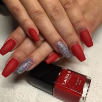 Holiday Red and Silver Glitter Long Coffin Nails #nail # ...