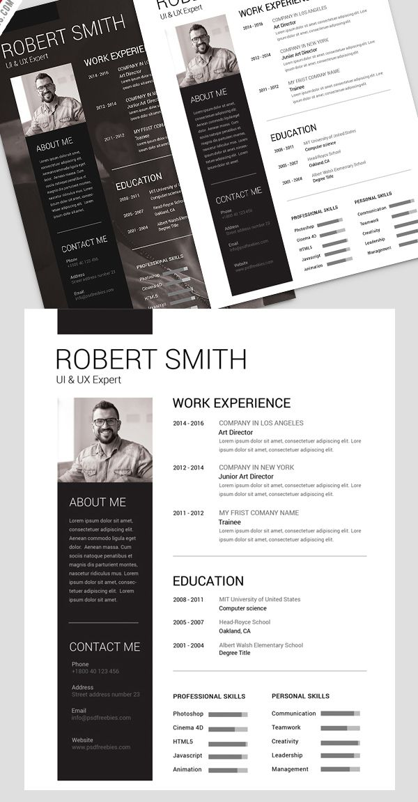 Simple and Clean Resume Free PSD Template PSD Templates - clean resume templates