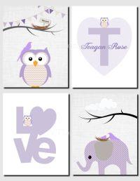Purple Owl Elephant Initial Love Girl Wall Art Kids Wall ...