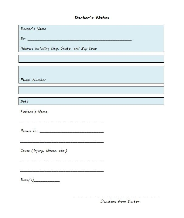 doctor excuse form
