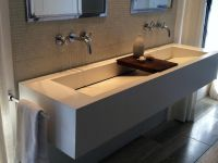 Sophisticated White Commercial Trough Sink With Wooden ...