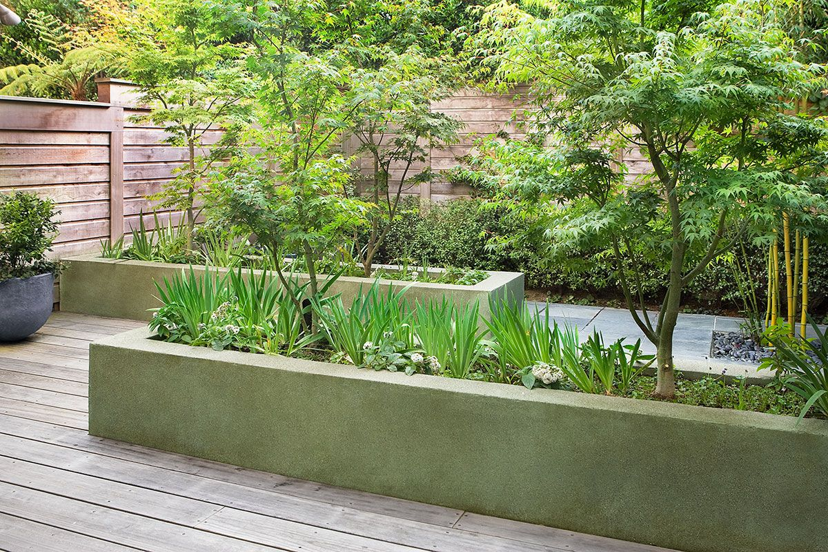 Concrete Garden Planters Like The Meandering Path Between Raised Planters Scott