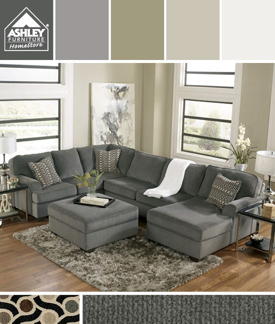 Gray + Earth Tones - Iu0027m getting this for my family room! (Loric - gray couch living room