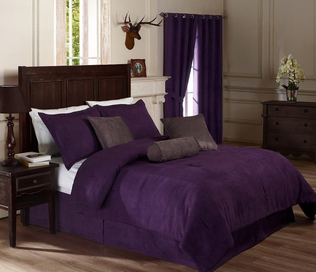 Dark purple comforter sets queen