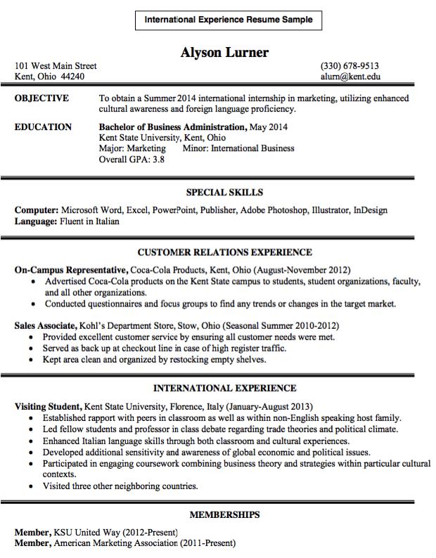 international experience resume sample