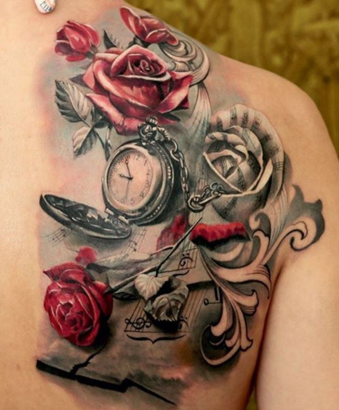 Tatuaggio Specchio For Those Music And Flower Lovers Pocket Watch Tattoos