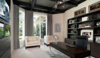 modern home office, home study, grey accents, dark wood ...
