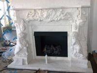 White Marble Angel Cherubim French style fireplace