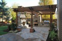 austin stone patio | Pergola on stone with fireplace ...