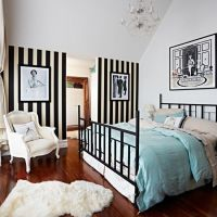 Bedroom with black and white striped wallpaper | Modern ...