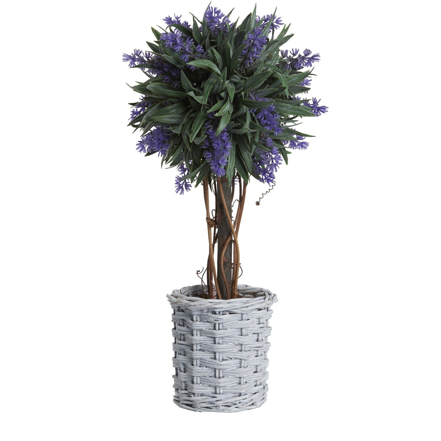 Buy Artificial Plants Buy Lavender Ball Tree In Willow Basket Artificial