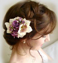 Purple hair clip, bridal hair accessories, purple hair ...