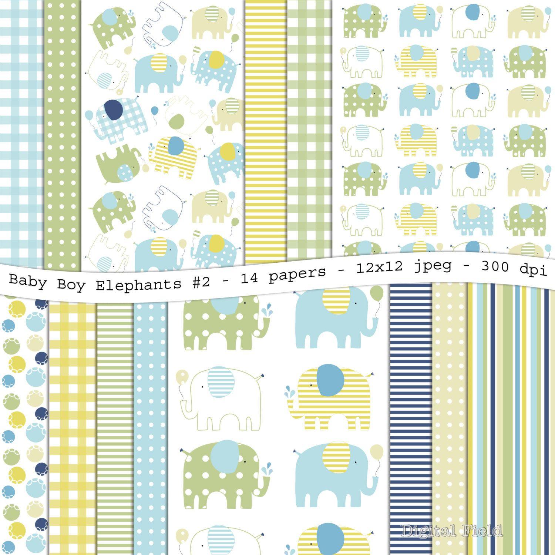 Instant download baby boy elephants no 2 digital papel scrapbookingscrapbook paperdigital