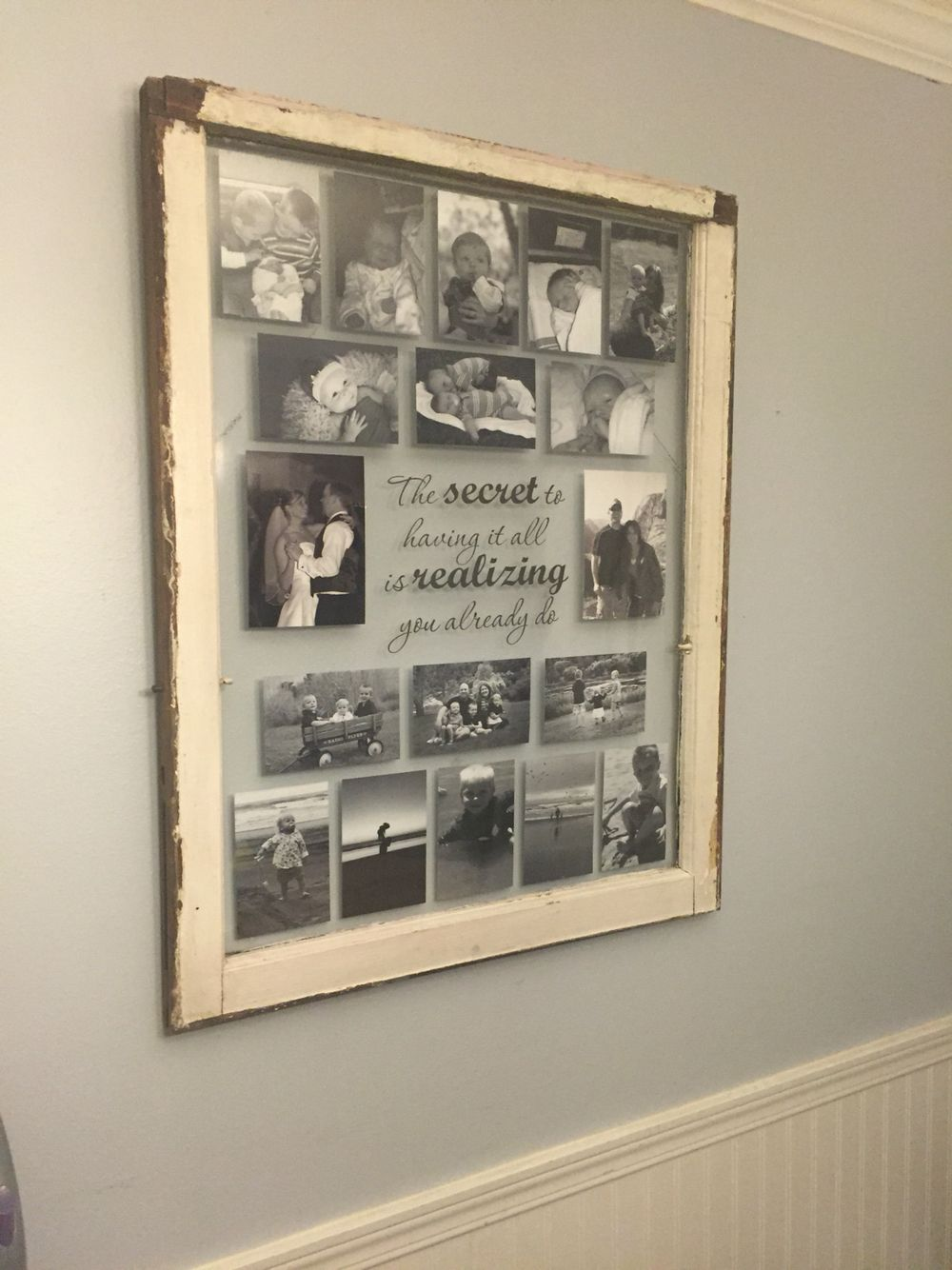Old single pane window frame turned into a collage photo