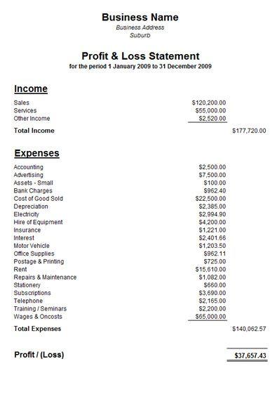 Profit and Loss Statement Template Free Profit And Loss - fillable profit and loss statement